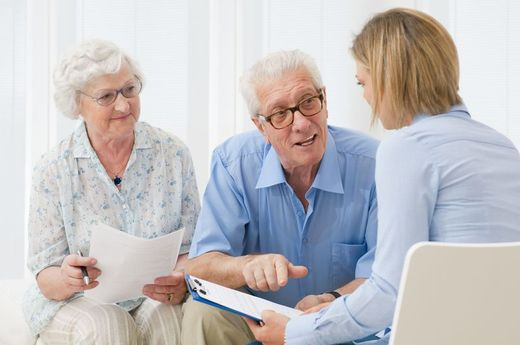 Solicitor Working with an Elderly Client.